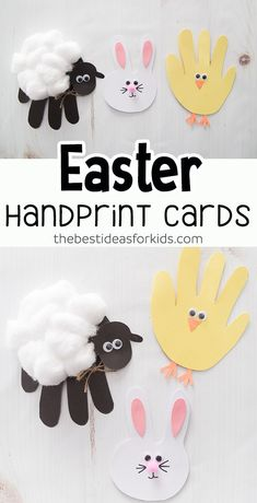 Easter Handprint Cards : EASTER HANDPRINT CARDS - adorable Easter cards for kids to make! Easy Easter handprint cards that are the perfect Easter handprint crafts for kids. A handprint bunny, sheep and chick tutorial included! Daycare Crafts, Preschool Crafts, Kids Crafts, Kids Diy, Craft Activities, Classroom Crafts, Indoor Activities, Holiday Activities, Summer Activities