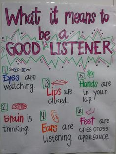 Good Listeners Anchor Chart is part of Classroom anchor charts - Classroom Rules, Classroom Behavior, Classroom Posters, Kindergarten Classroom, School Classroom, Classroom Ideas, Future Classroom, Classroom Procedures, Beginning Of The School Year