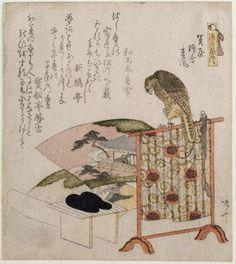 Hawk on a Perch  Japanese, Edo period, early 19th century  Artist Ryûryûkyo Shinsai, Japanese, 1764?–1820, Woodblock print (surimono); ink, color, and metallic powder on paper, MFA