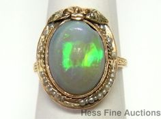 Outstanding Harlequin Opal Natural Seed Pearl Rose Green Yellow 14k Gold Ring  #FashionRightHand