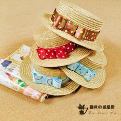 春夏新款韓版甜美可愛時尚波點蝴蝶結編織圓頂草帽時裝帽帽子女-淘寶網
