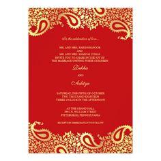 Indian Wedding Invitations Paisleys Red Wedding Flat Invitation