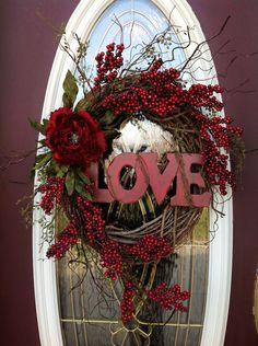 "Valentines Day Wreath Door Decor..""Love"