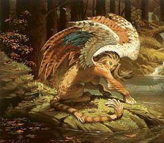 #Sphinx et même Gynosphinx. Le mythe grec dépeint la créature comme un monstre au corps de lion pourvu des ailes d'un oiseau et de la tête d'une femme.