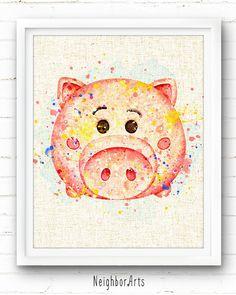 Tsum Tsum Hamm Toy Story Art Print, Disney Watercolor Painting, Kids Decor, Nursery Wall Art, Home Decor, Baby Gift, Burlap Print, NA417