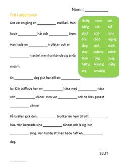 Nedladdningsbart material: Adjektiv – Grundlärarstudenten Teacher Education, School Teacher, Learn Swedish, Swedish Language, Language And Literature, Teacher Hacks, Teaching Materials, Teaching Tips, School Supplies
