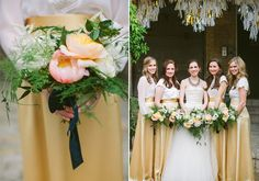 Gold and white bridesmaids   photo by Taylor Lord   100 Layer Cake