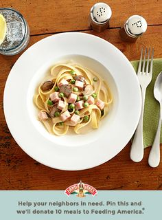 Hearty ham and fresh-flavored peas make creamy pasta an all-in-one meal. Learn more about Pin a Meal. Give a Meal. and Feeding America® at LandOLakes.com/pinameal. (Pin any Land O'Lakes recipe or submit any recipe pin at LandOLakes.com/pinameal.)