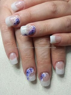 White Acrylic Fade With One Stroke Flower Nail Art Nails