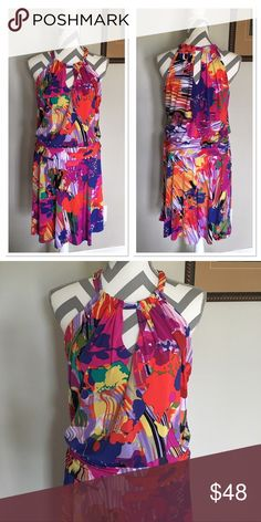 Suzi Chin For Maggy Boutique Watercolor Dress NWOT Beautiful dress!! Vibrant colors. Bust: 16 in. Length: 38 in. Waist: 15 in. Hips: 16 in. Halter style, keyhole neckline in front and back. Ruched waistline. Lining-100% polyester. Body-95% polyester 5% spandex. Dry clean only. NWOT. Size 8. Suzi Chin  Dresses