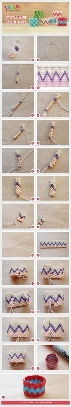 Summary: Let's string beads to make a wide beaded ring. The ring is made of seed beads with different colors. And you will see its pattern in wavy lines. Love this pattern design, and join us in learning how to make beaded rings! by amelia Seed Bead Patterns, Jewelry Patterns, Bracelet Patterns, Beading Patterns, Beaded Beads, Beaded Rings, Beads And Wire, Bead Jewellery, Seed Bead Jewelry