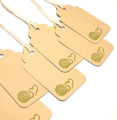 Gift Tags - Hand Knitted Crocheted Yarn Ball Heart LARGE
