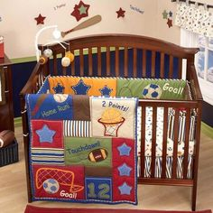 Blue and Red Baby Boy Sports Theme Cheap Nursery Crib Bedding Set Collection