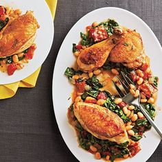 Tuscan Baked Chicken and Beans Recipe- I think I can put a healthy spin on this