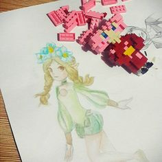 Mercedes The Fairy Princess without her wings . . . . . #odinsphere #leifthrasir #mercedes #phozon #sphere #gwendolyn #oswald #cornelius #velvet #catair #watercolor #newbie #instaart #dailysketch #instadaily #instadraw #selftaught #nanoblock #nanobrickztestimonial #sakuramiku #hatsunemiku