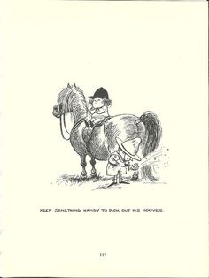 """""""Keep something handy to pick out his hooves"""" --Thelwell's Original Vintage Pony Horse Mount Cartoon Print 1964 Comical"""