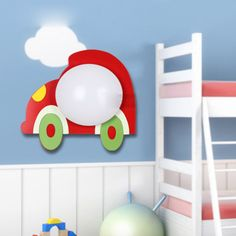 Modern Fashion Cartoon Car Wall Lamp Lovely LED Wooden Children's Bedroom Bedside Wall Lighting