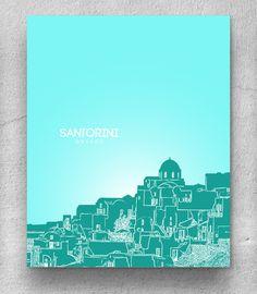 Santorini Greece Skyline Poster / Travel Destination Wall Art Poster / Any City or Landmark. $20.00, via Etsy.