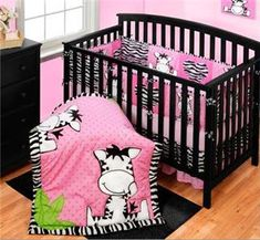 Baby Girls Nursery Pink Black White ZEBRA STRIPE