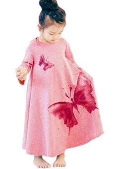 Vebe Dillian Girls Butterfly Print Dress (120(6-7Y), Pink…