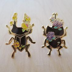 Floral Stag Beetle & Rhino Beetles enamel pins look so good together ♥
