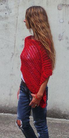 Poncho Pattern Easy Knitting Pattern coverup knit por ileaiye