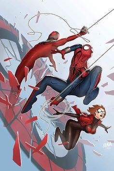 Scarlet Spiders #1 cover by David Nakayama