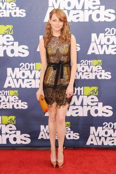In Bottega Veneta at the 2011 MTV Movie Awards. See all of Emma Stone's best looks.