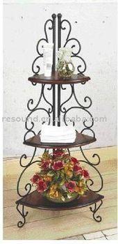 Mensola rustica in ferro battuto e legno libreria parete angoliera ...