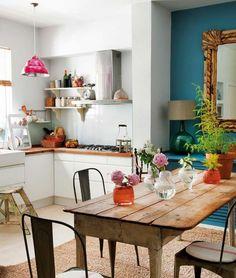 bunte wandfarbe küche wände weiß blau