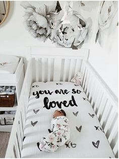 CRIB SHEET , baby gift, best baby gift ever, nursery decor -You are so loved- cotton muslin crib sheet. Lay your babes down on a super soft, lightweight / breathable cotton muslin crib sheet. Floral Nursery, Boho Nursery, Girl Nursery, Nursery Ideas, Nursery Decor, Crib Mattress, Crib Sheets, Monochrome Nursery, Muslin Blankets