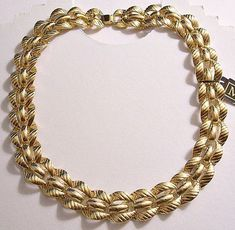 b2468074b4f7d9 Monet Slant Link Chain Choker Necklace Gold Tone Vintage Wide Layered  Center Bar Accents Horseshoe Foldover Clasp Closure Attached Hangtag