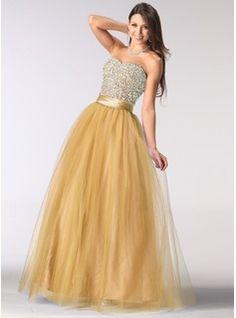 Corte A/Princesa Escote corazón Vestido Tul Charmeuse Vestido de baile de promoción con Volantes Bordado Lentejuelas (018004898) - JJsHouse