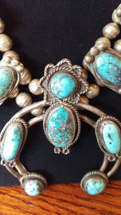 Navajo Squash Blossom Sterling Silver and Turquoise Vintage Necklace