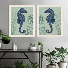 Seahorse Prints blue on pale green/sage Set of 2, Nautical Print Beach Decor bathroom Decor Beach House Decor Seahorse Illustration Painting