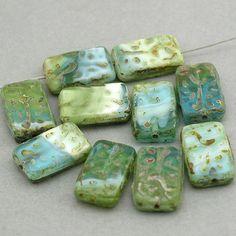 $1.66 PER BEAD ~ $9.95 FOR 6 (18/12) ~~ Czech Glass Beads green aqua blue Picasso JB11101 ~~ beadtoyou