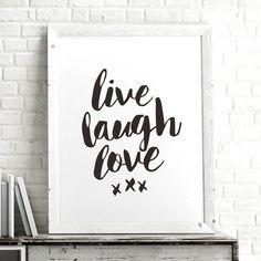Live Laugh Love http://www.amazon.com/dp/B01709LMSC inspirational quote word art print motivational poster black white motivationmonday minimalist shabby chic fashion inspo typographic wall decor