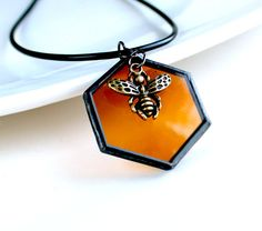 Queen Bee Honeycomb  Stained glass Necklace by LAGlass on Etsy, $23.00