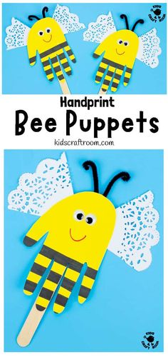Who loves handprint crafts? Why not make adorable Handprint Bee Puppets! This bee craft is super simple and so much fun to play with. Puppet crafts are a such great way to encourage kids imaginative play and story telling. Bee Crafts For Kids, Arts And Crafts Projects, Summer Crafts, Toddler Crafts, Preschool Crafts, Projects For Kids, Crafts To Make, Fun Crafts, Craft Kids