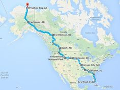 The epic North American road trip you should take before you die If you're feeling the pull of the open road, here's how you take advantage of the lowest gas prices in five years, from Florida to Alaska. Rv Travel, Travel Maps, Adventure Travel, Places To Travel, Places To Go, Family Travel, Travel Gadgets, Family Vacations, Texas Travel