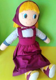 Boneca Masha e o urso  toda de pano super fofinha com roupinha 100% algodão  50cm