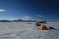 This is the camp from which scientists discovered 820-foot-high channels underneath an ice shelf—a piece of ice jutting out into the ocean from land—in Antarctica. The tunnels are nearly as high as the Eiffel tower.