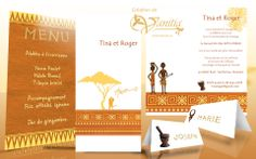 Anniversaire de mariage: Ensemble sous le thème de l'Afrique: Invitation, menu, marque place