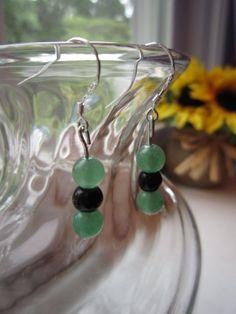 Aventurine and Obsidian Short Beaded Drop Earrings