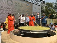 918 kg of Khichdi cooked in one vessel – India set a new Guinness World Record. Akshaya Patra supervised the preparation and celebrity chef Sanjeev Kapoor led the team in cooking the khichdi. The Akshaya Patra Foundation distributed it to orphans.