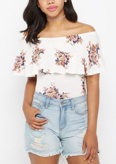image of Rosy Flounce Off-Shoulder Top