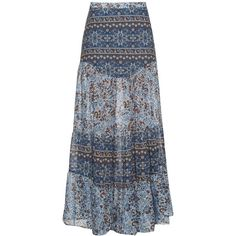 See By Chloé Floral-print maxi skirt ($377) ❤ liked on Polyvore featuring skirts, bottoms, light blue, tiered maxi skirt, light blue maxi skirt, tiered ruffle maxi skirt, long tiered ruffle skirt and long light blue skirt