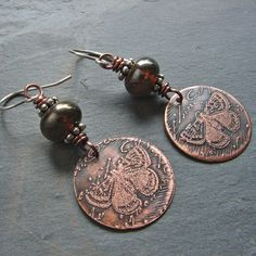 Tracy - Etched Copper and Handmade Glass Bead Earrings by For My Sweet Daughter