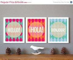 20% OFF Spring Sale Hello, Hola and Bonjour Wall Art Prints Collection