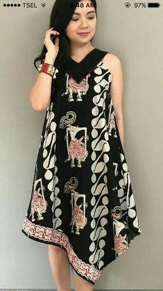 Blouse Batik, Batik Dress, Simple Dresses, Nice Dresses, Casual Dresses, African Wear, African Dress, Fashion Casual, Fashion Outfits